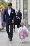 Tom Brady arriving at the Church of St. Thomas in NYC with daughter Vivian