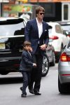 Tom Brady arriving at the Church of St. Thomas in NYC with son Ben