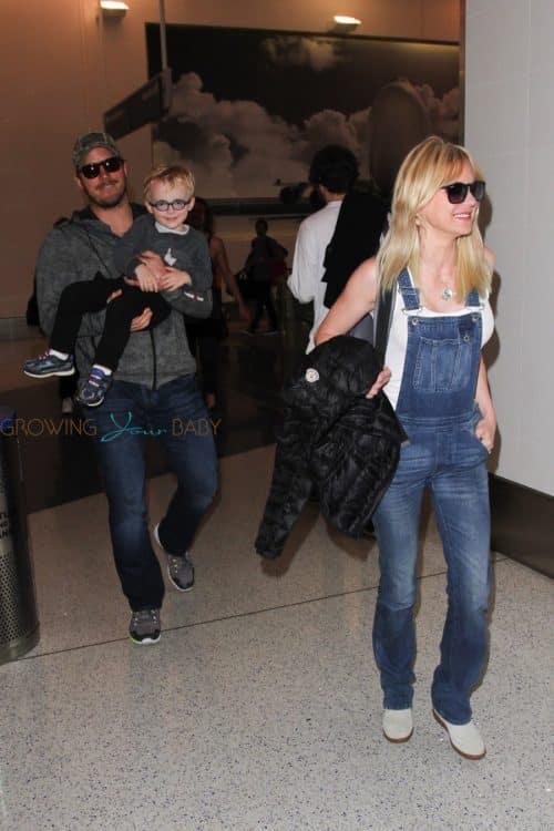 Anna Faris, Chris Pratt and Son Jack Depart LAX Airport