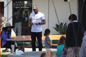 Brian Austin Green at the park with his wife Megan Fox and kids Noah & Bodhi