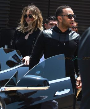 John Leged and Chrissy teigen arrive at Nubu for a lunch date with Kim and Kanye