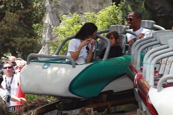 Kourtney Kardashian rides a roller coaster with son Mason at Disneyland