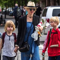 Naomi Watts out in NYC with her sons Alexander and Sam Schreiber t