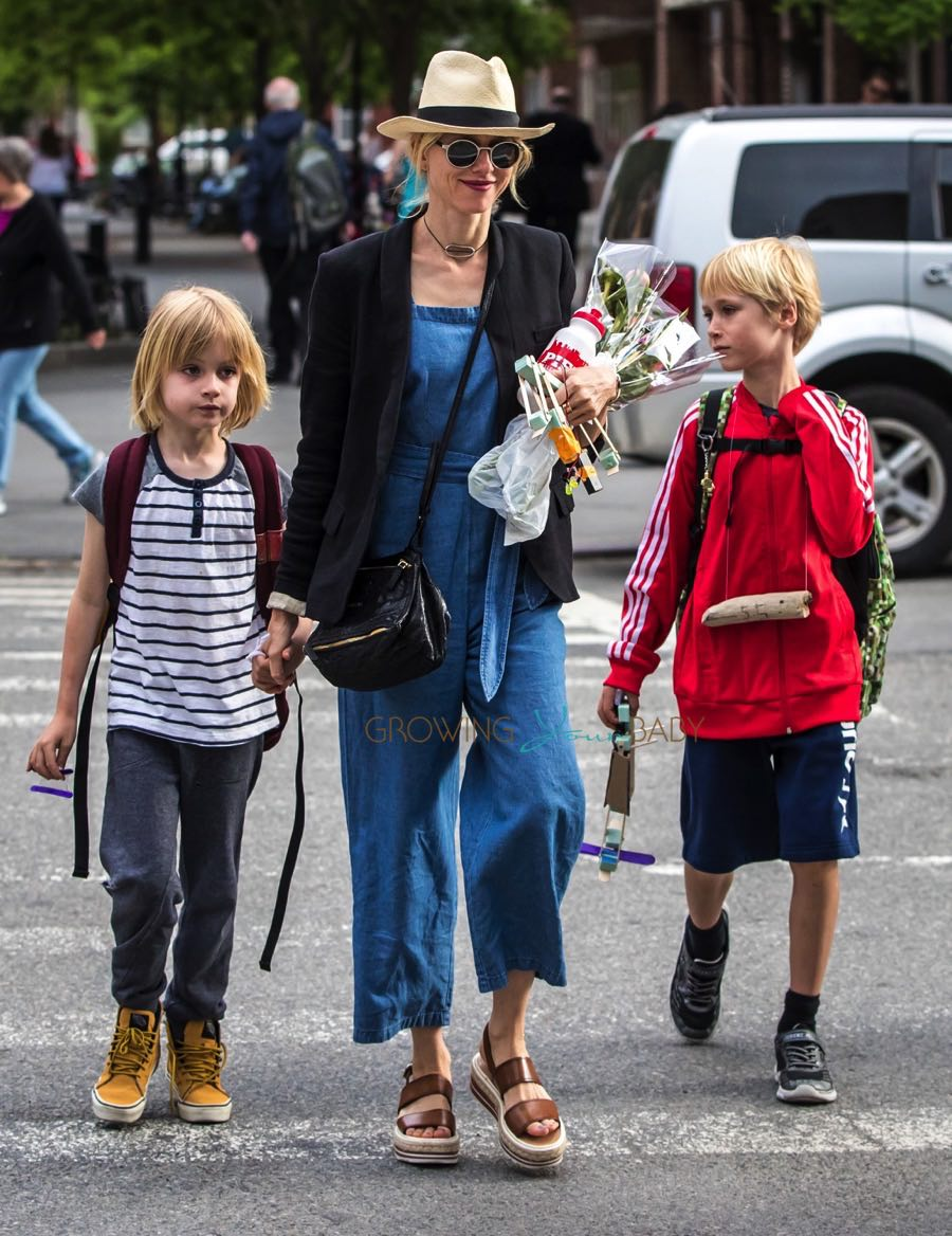 Naomi Watts out in NYC with her sons Alexander and Sam Schreiber