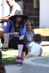 Pregnant Megan Fox at the park with kids Noah & Bodhi Green