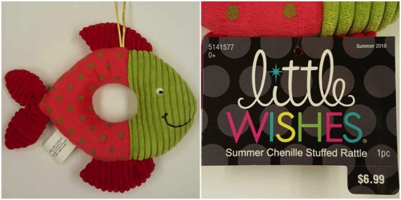 Recalled Little Wishes Chenille Stuffed Rattles - Pink & Green Fish