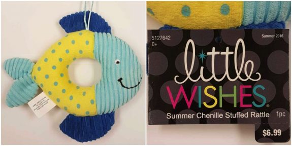 recalled Little Wishes Chenille Stuffed Rattles - Blue & Yellow Fish