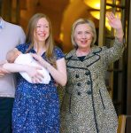 Chelsea and Hilary Clinton leave the hospital with baby Aiden