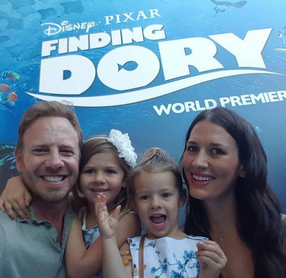 Erin and Ian Ziering with daughters Mia and Penna at the Finding Dory premiere