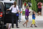 Jennifer Garner arrives at Church with Kids Violet and Sam