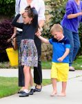 Jennifer Garner leaves SUnday Service with her kids Seraphina and Samuel Affleck