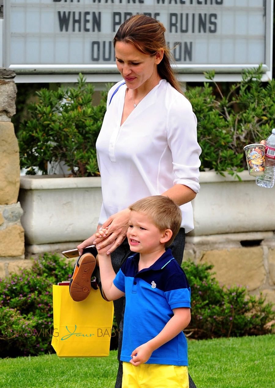 Jennifer Garner leaves SUnday Service with her son Samuel Affleck