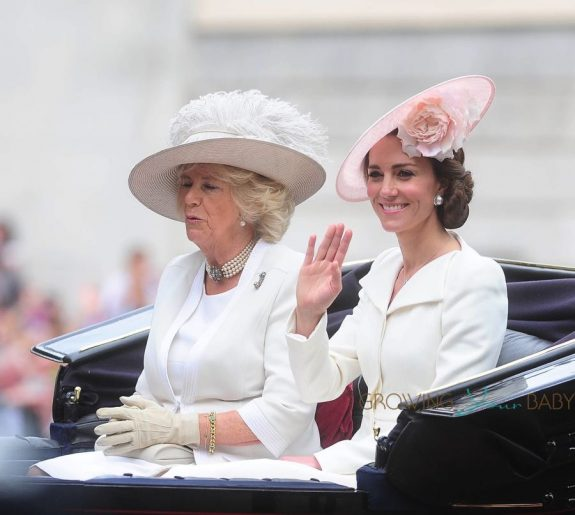 Kate Middleton arrives at The Trooping The Colour Parade 2016 with Camila Parker Bowles