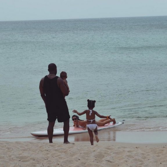 Kim kardashian and Kanye West celebrate Father's Day at the beach with kids North and Saint