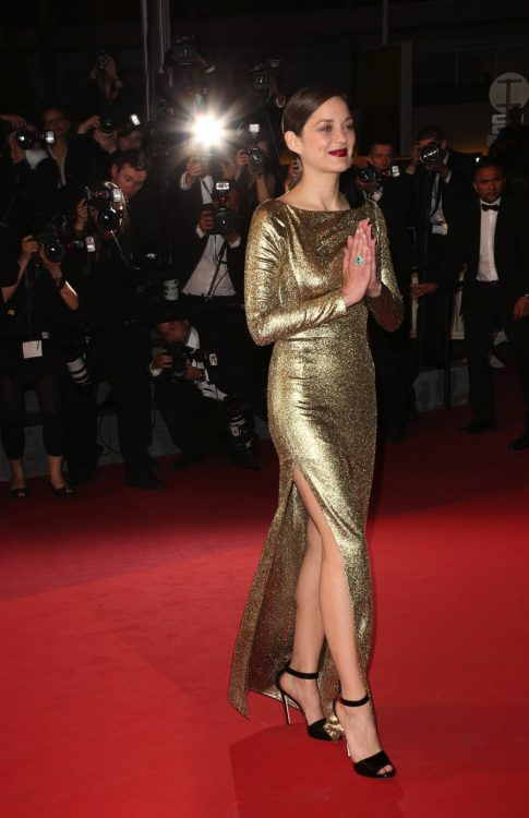 "Marion Cotillard at the ""Mal de Pierres"" red carpet during the 69th Cannes Film Festival."