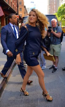 Pregnant Blake Lively steps out in NYC in a navy dress
