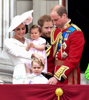 The Duke and Duchess of Cambridge watch the Trooping the colour 2016 with their children George and Charlotte and Prince Harry