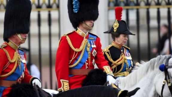 The Prince of Wales, the Duke of Cambridge and the Princess Royal rode on horseback