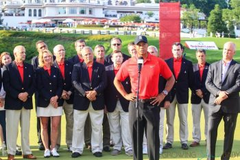 Tiger Woods attends the Quicken Loans National PGA Golf Tournament