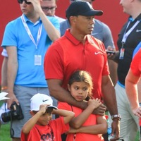 Tiger Woods Attends The Quicken Loans National PGA Golf Tournament With Children Sam & Charlie