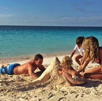 Tom Brady and Gisele Bundchen at the beach with their kids Ben and Vivian Father's Day