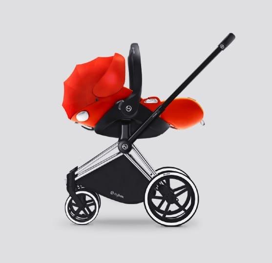 CYBEX Cloud Q infant Car Seat on Priam frame