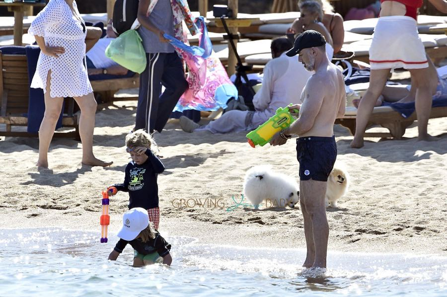 David Furnish in Sardinia with sons Zachary & Elijah