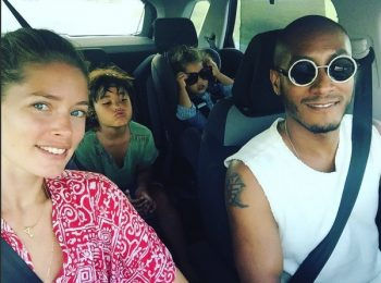 Doutzen Kroes And Sunnery James In Ibiza with their kids Phyllon and Myllena