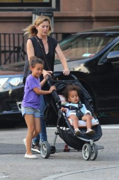 Ellen Pompeo out in NYC with kids Sienna and Stella