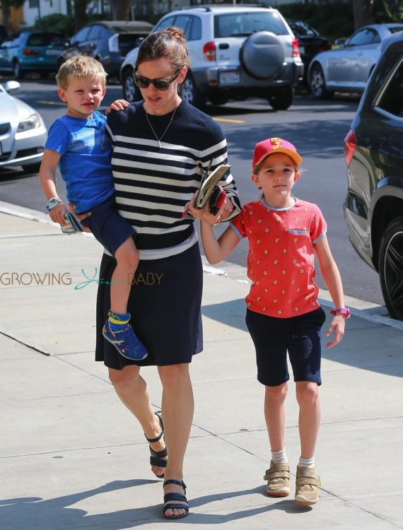 Jennifer Garner arrives at church with her kids Seraphina and Sam Affleck