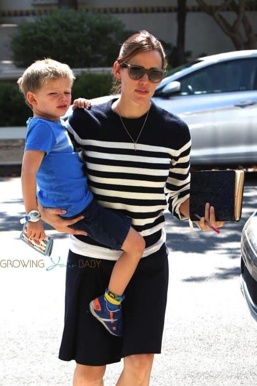 Jennifer Garner arrives at church with her son Sam Affleck