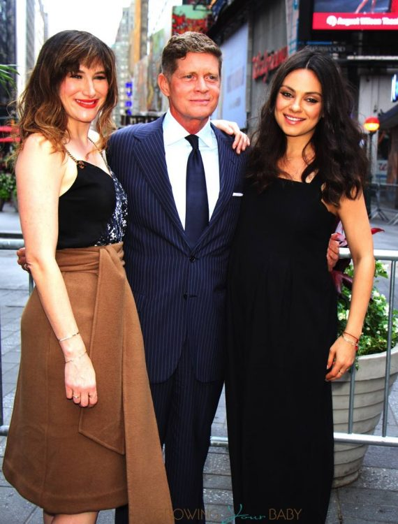 Kathryn Hahn, Robert Simonds and a pregnant Mila Kunis ring the closing bell
