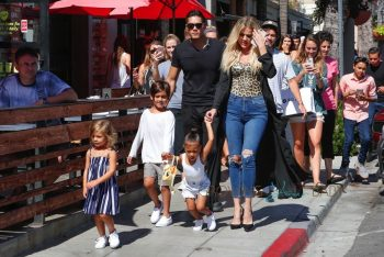 Khloe Kardashian with nieces North West and Penelope Disick and nephew Mason in San Diego