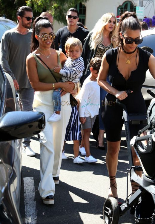 Kim, Kourtney and Khloe Kardashian out in San Diego with their families