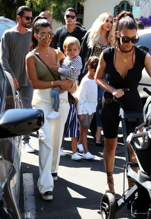 Kim, Kourtney and Khloe Kardashian out in San Diego with their families