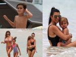 Kourtney Kardashian and her kids hit the beach in Miami with Larsa Pippen