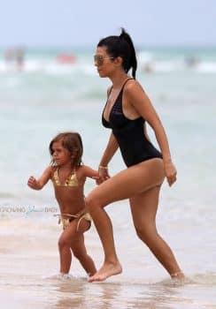 Kourtney Kardashian with daughter Penelope Disick in Miami