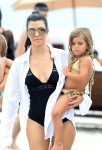 Kourtney Kardashian with daughter Penelope Disick in Miami, FL