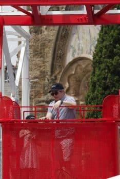 Matthew Broderick rides Talaia at Tibidabo Amusement Park with his daughter