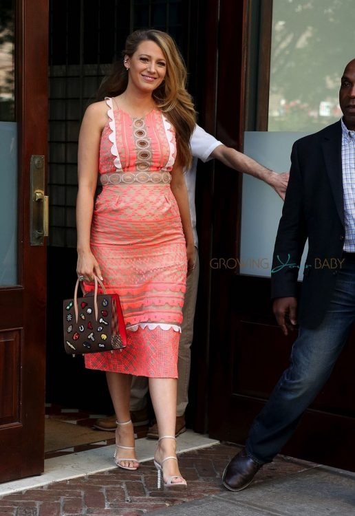 Pregnant Actress Blake Lively shows off her growing belly while promoting her new movie in NYC