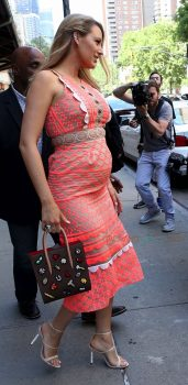 Pregnant Blake Lively shows off her growing belly while promoting her new movie in NYC