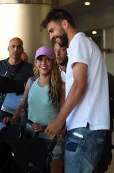 Shakira and Girard Pique with sons Milan & Sasha Pique Mebarak at MIA airport