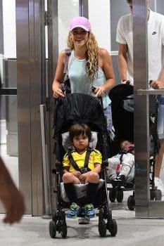 Shakira and Girard Pique with sons Milan and Sasha Pique Mebarak at MIA airport
