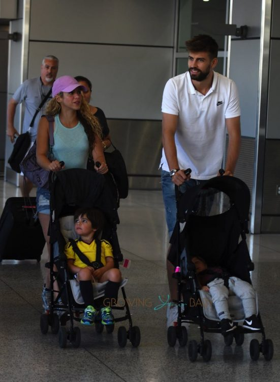Shakira and Girard Pique with sons Milan and Sasha Pique Mebarak at Miami Airport