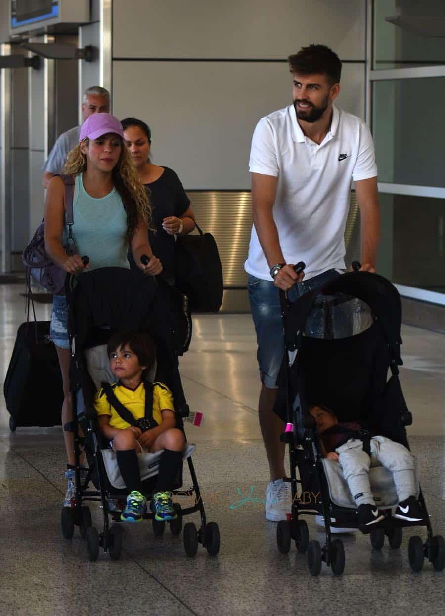 Shakira and Girard Pique with sons Milan and Sasha Pique Mebarak at Miami Airport