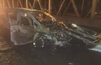 Van bursts into flames after accident
