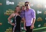 Beverly Mitchell with her husband and daughter at Pete's Dragon Premiere in Hollywood