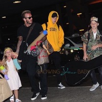 Victoria & David Beckham Depart LAX With Their Kids
