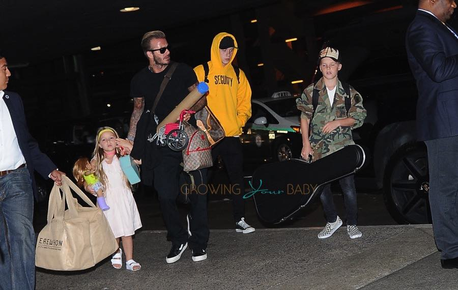David Beckham arrives at LAX with his kids Harper, Brooklyn and Cruz