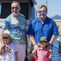 Elton John Vacations With His Family in St. Tropez